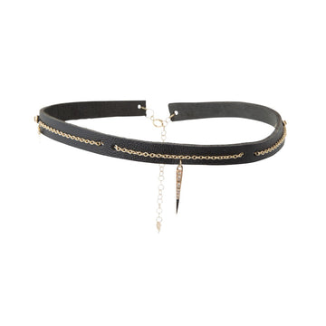 Black Leather Choker with Chain Detail and Spike Charm