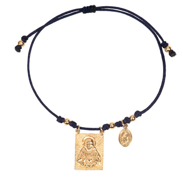 Scapular Sacred Heart and Virgin Medallion Silk String Bracelet