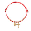 Virgin Mary and Cross Charm String Bracelet
