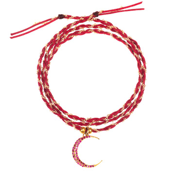 Ruby Crescent String Bracelet