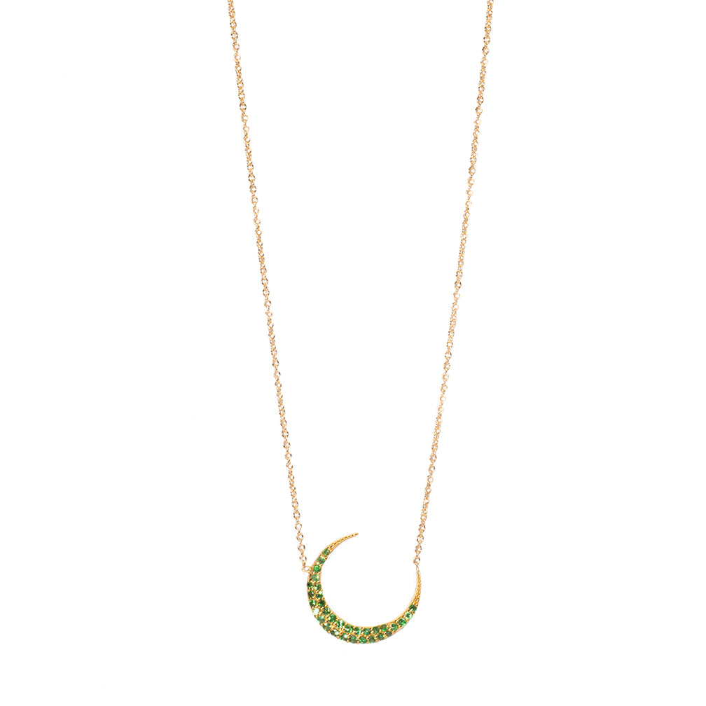 Green Tsavorite Crescent Moon Necklace