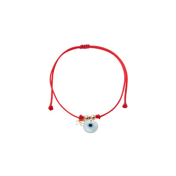 Red string bracelet solitary mother of pearl God eye