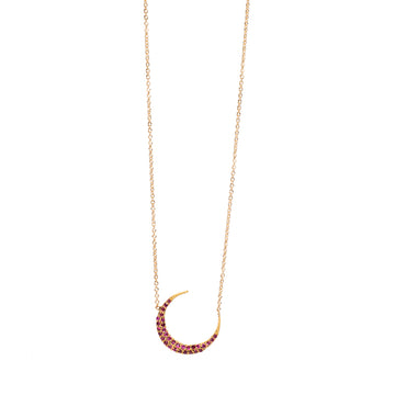 Ruby Red Crescent Moon Necklace