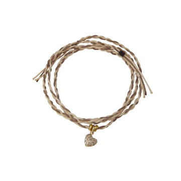 Two brown tone string bracelet with diamond encrusted heart