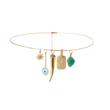 Thin Gold Choker with Diamond and Precious Stone Charms