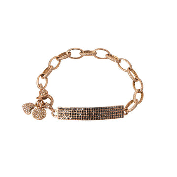 Chainlink bracelet with diamond encrusted plate and charms