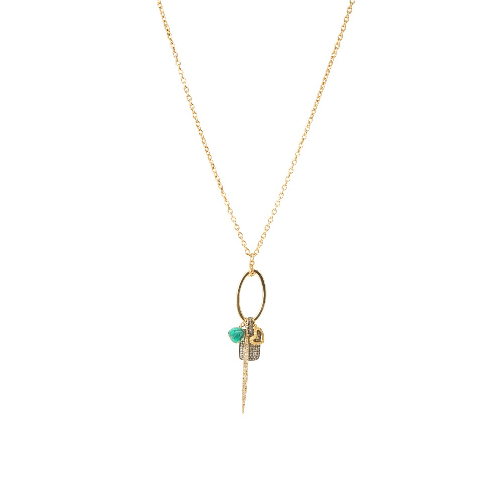 Long Necklace with Emerald, Diamond Encrusted Plate and Heart Charm