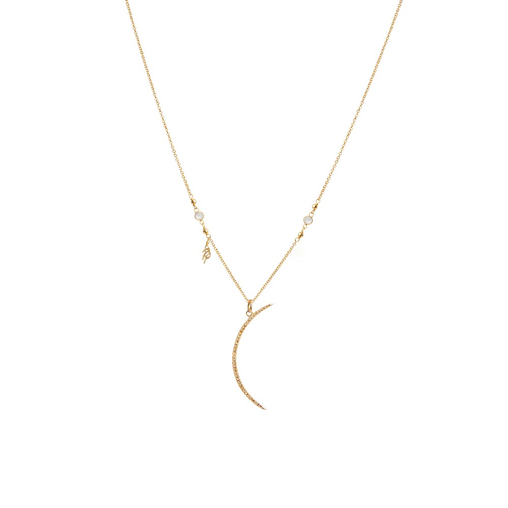 Dainty Diamond Crescent Gold Necklace