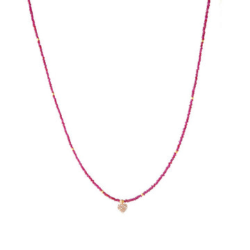 Ruby beaded necklace with diamond-encrusted heart