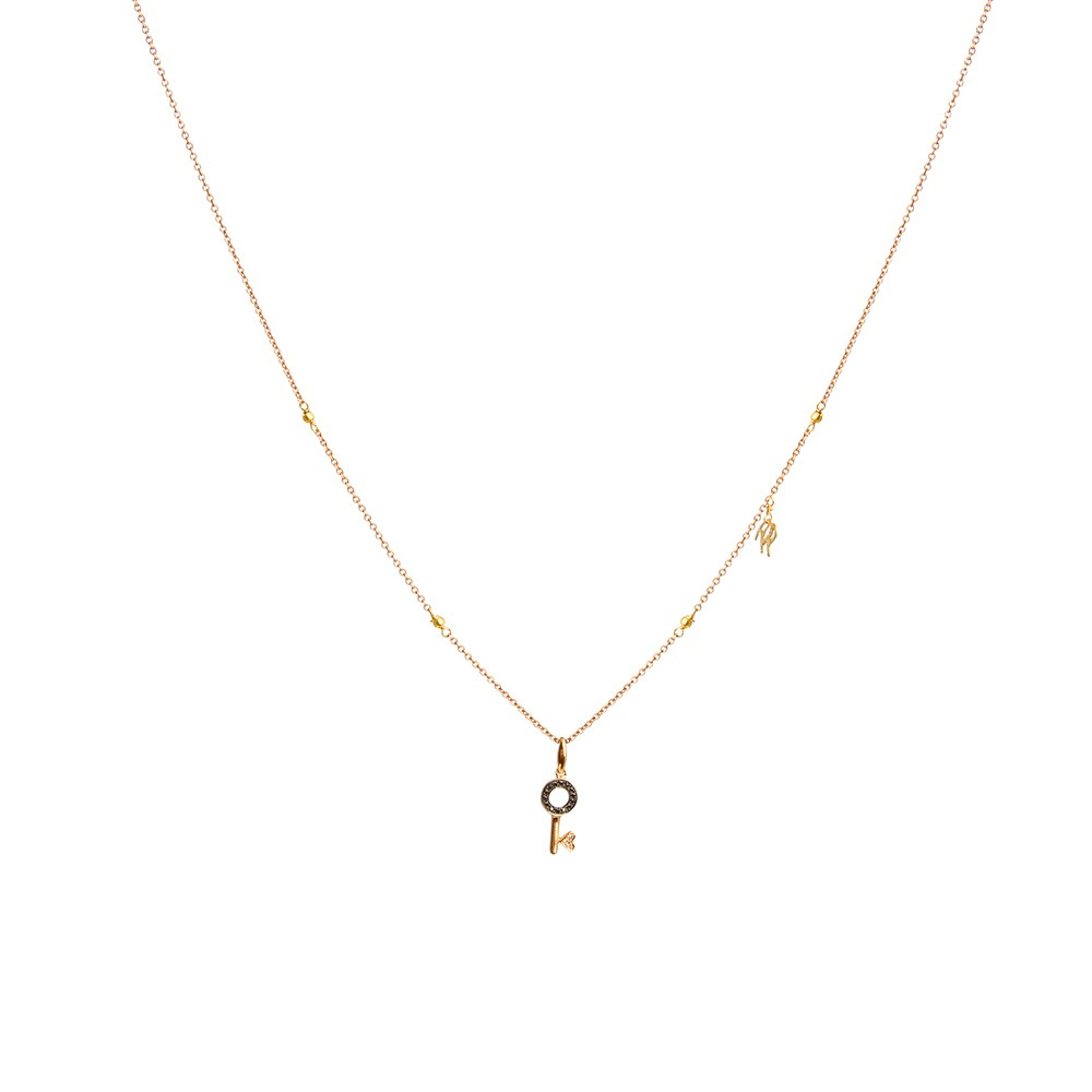 Gold Necklace with Black Diamond Key Charm
