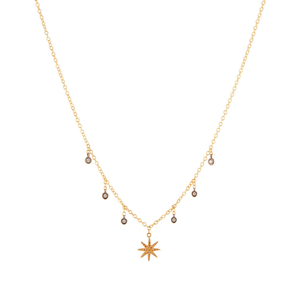 Gold Chain Necklace with Star Burst Charm and Diamond Droplets