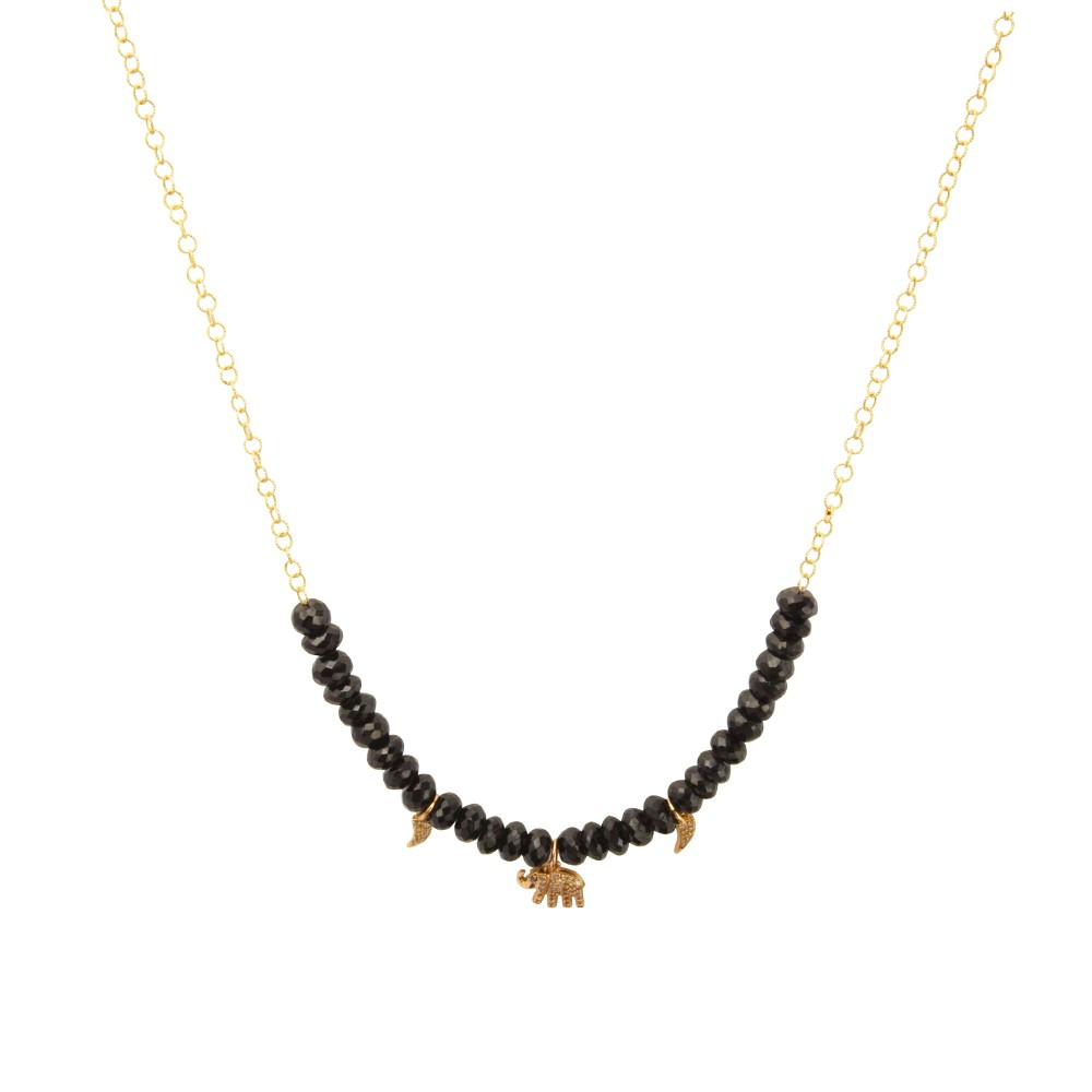 Necklace with Onyx stones and charms