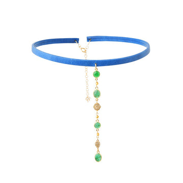 Blue Leather Choker with Cascading Emeralds