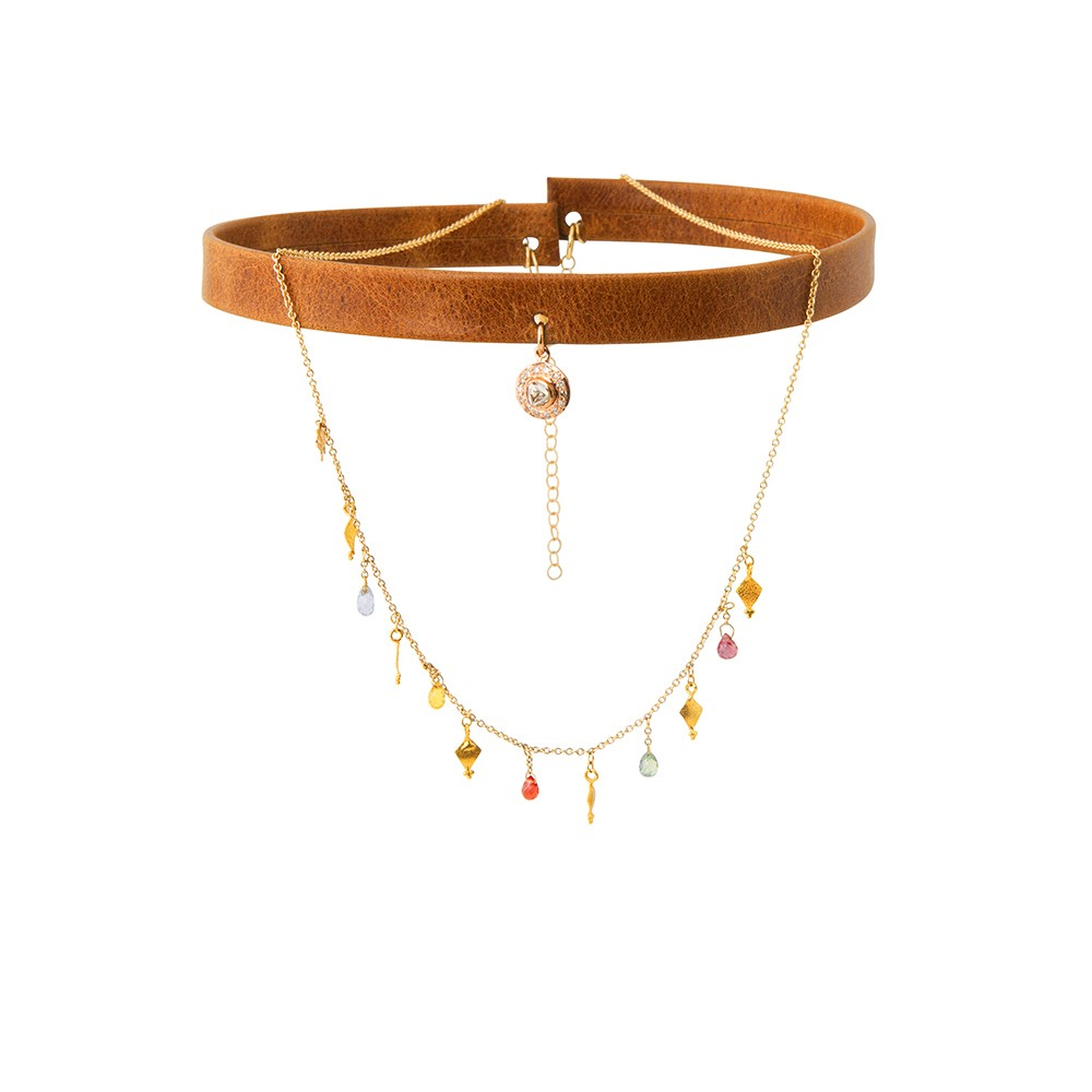 Caramel Brown Leather Choker with Cascading Chain and Diamond Charm