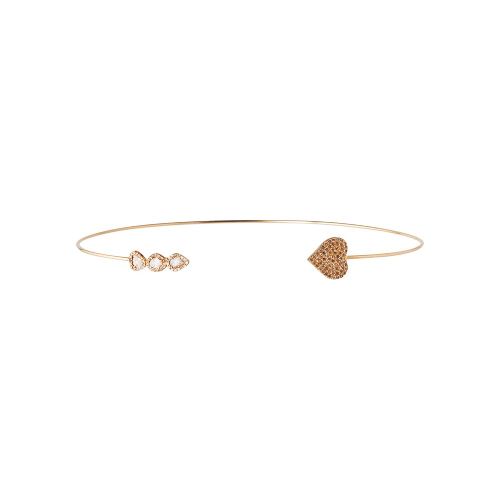 Gold Choker with Diamonds and Heart