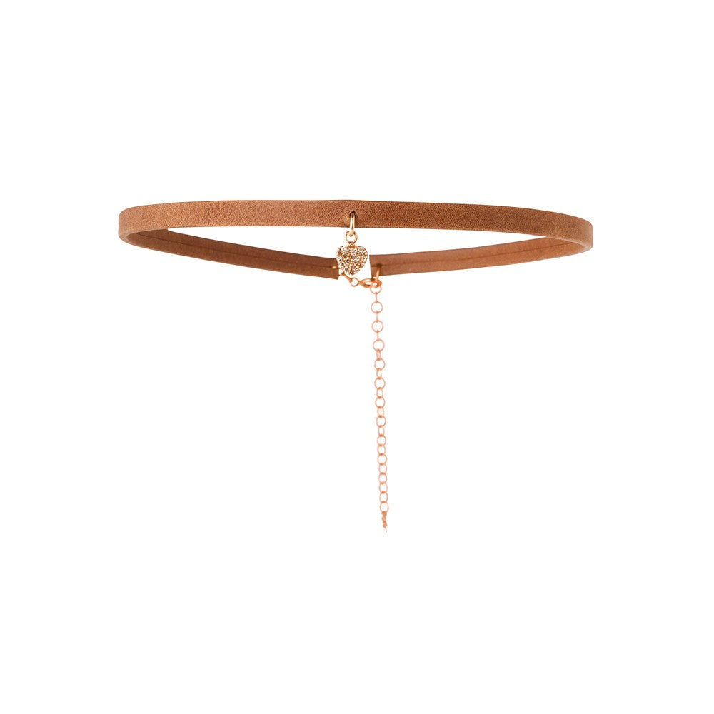 Caramel Leather Choker with Diamond Encrusted Heart Charm