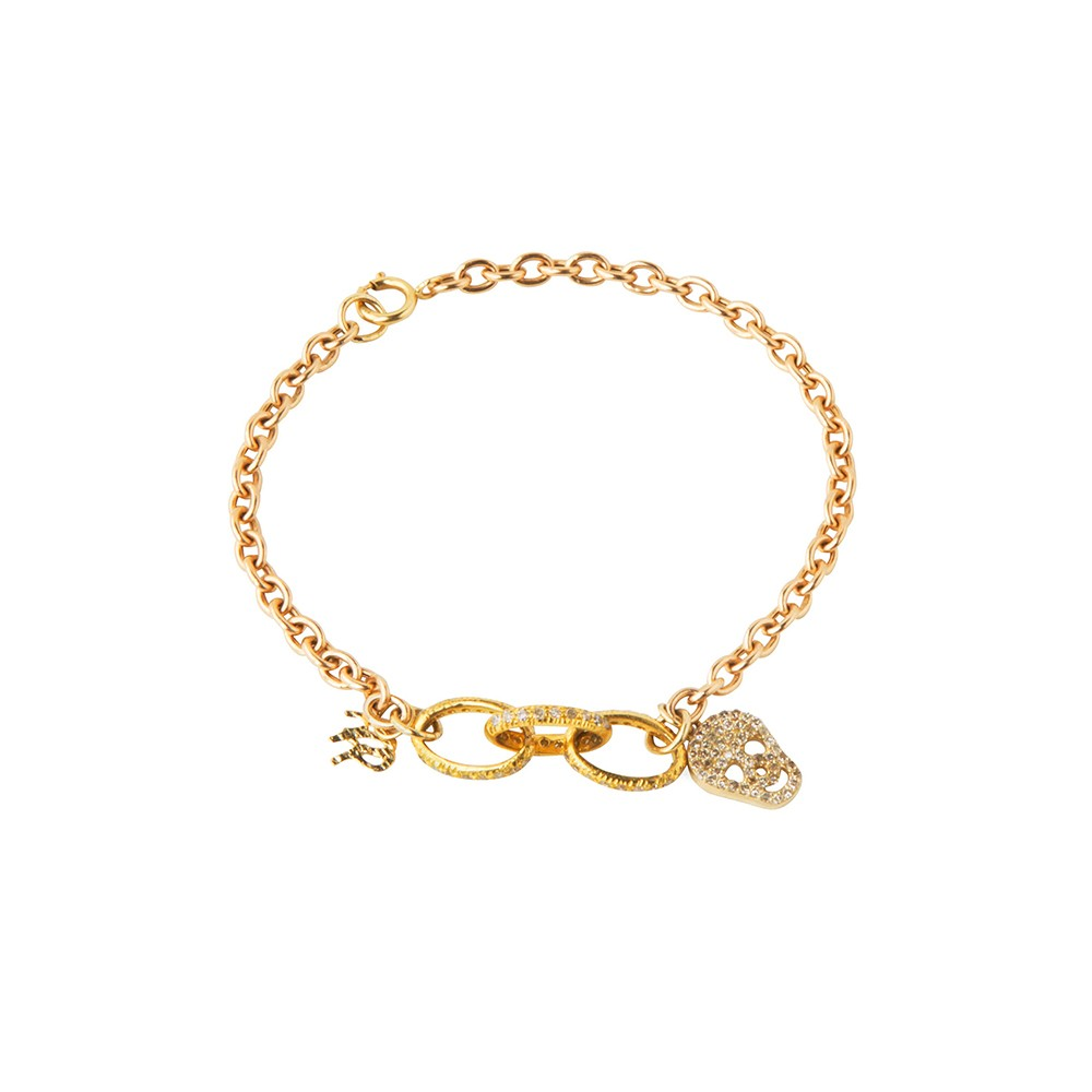 Gold Chainlink Bracelet with Skull Charm