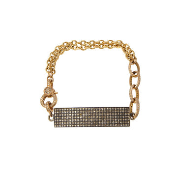 Gold Chainlink Bracelet with Silver Diamond Encrusted Plate