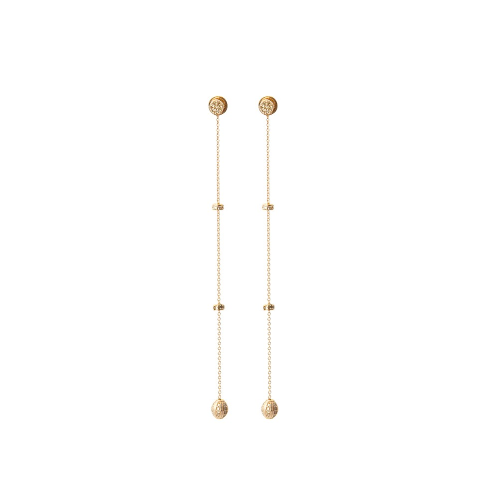 Long Gold Chain with Diamond Orbs Drop Earrings