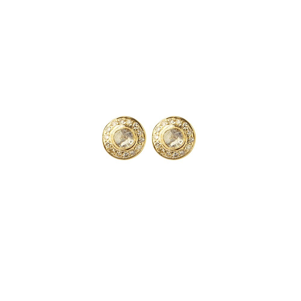 Stud diamond and gold earrings