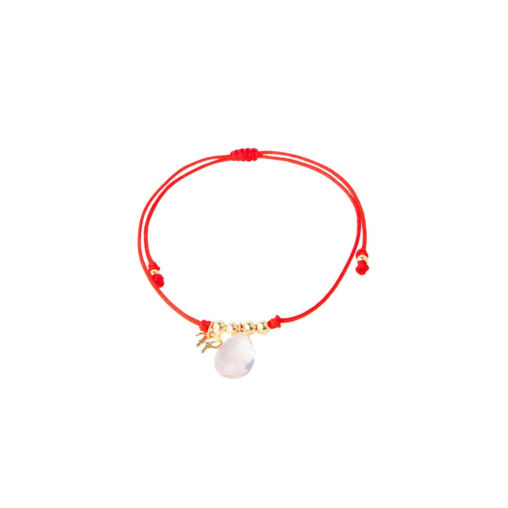 Red string bracelet with rose quartz charm