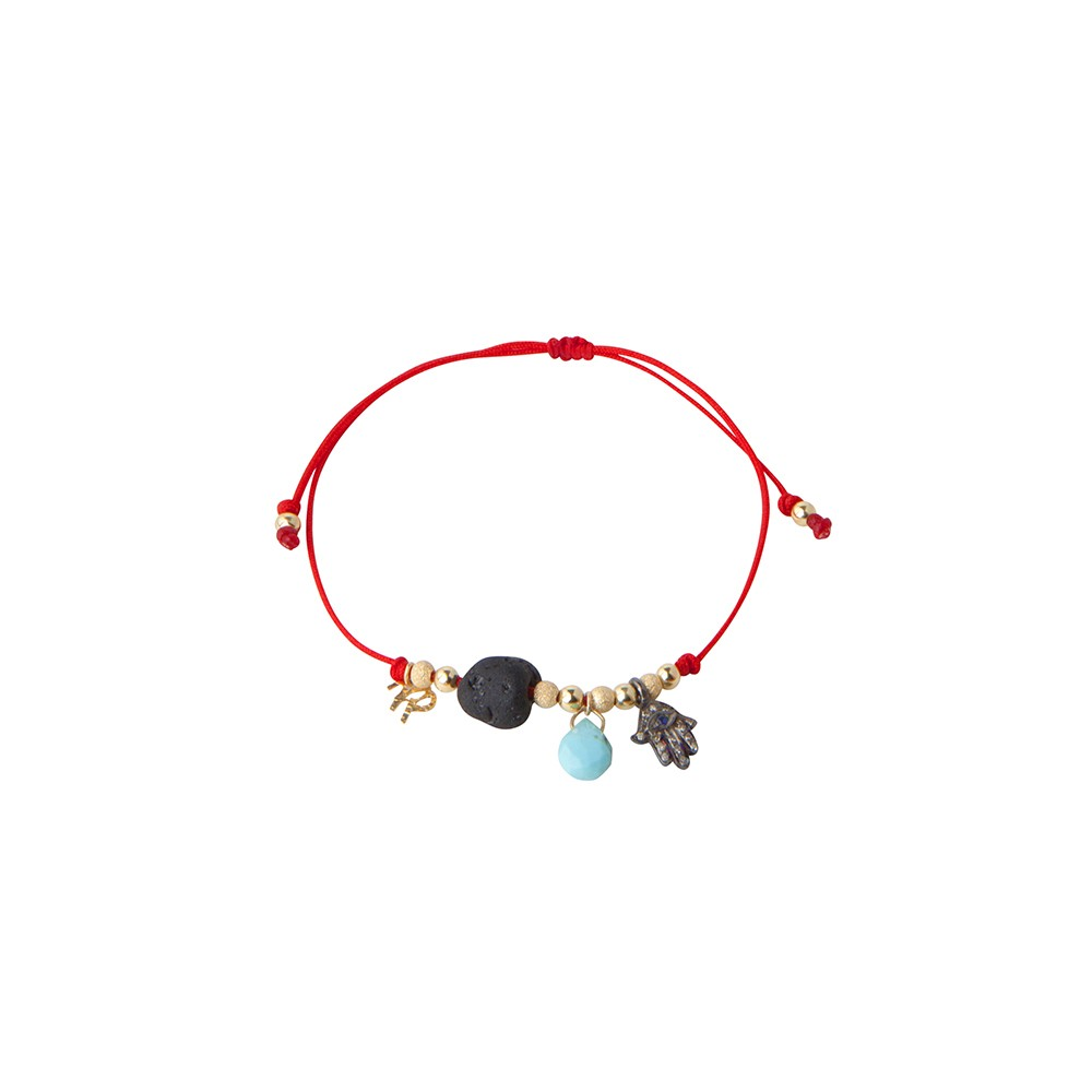 Red String Bracelet with Hamsa, Tourmaline & Turquoise