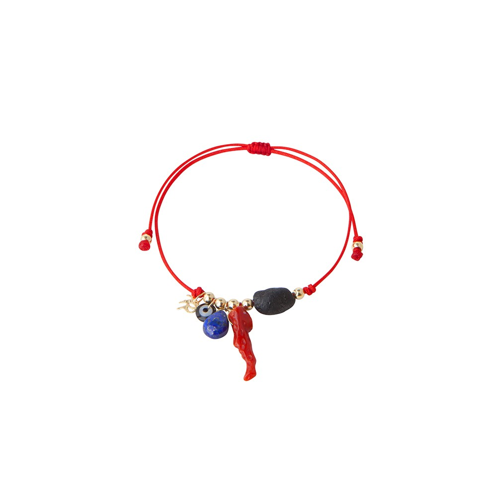 Red string bracelet with protective charms