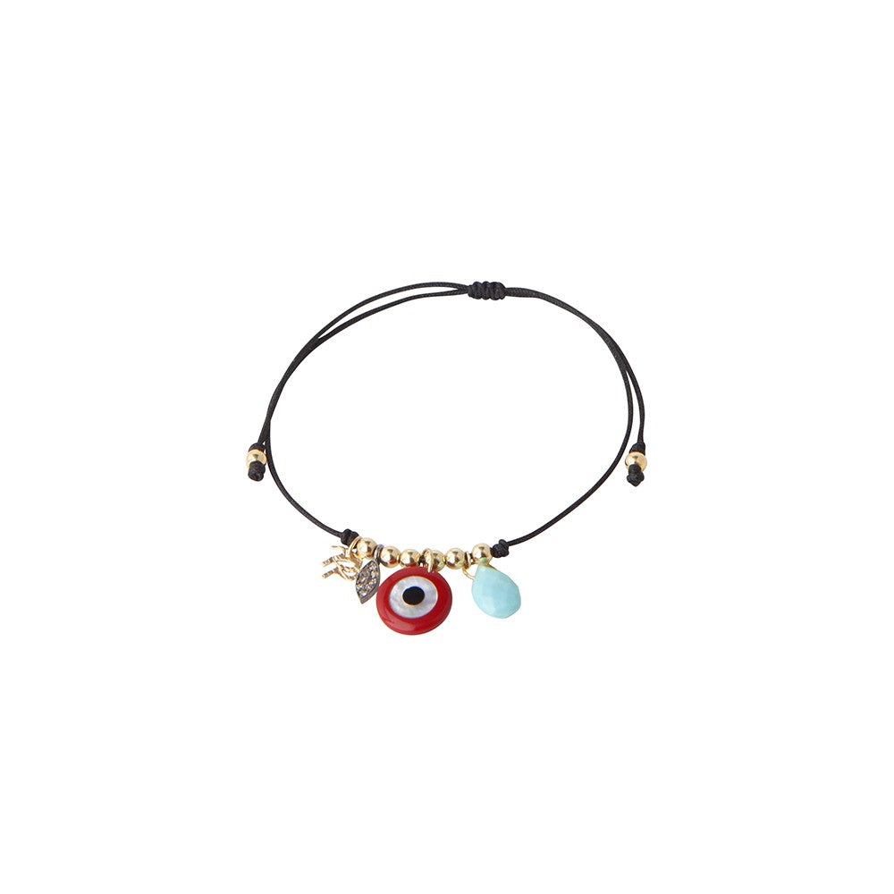 Black string bracelet with red God eye