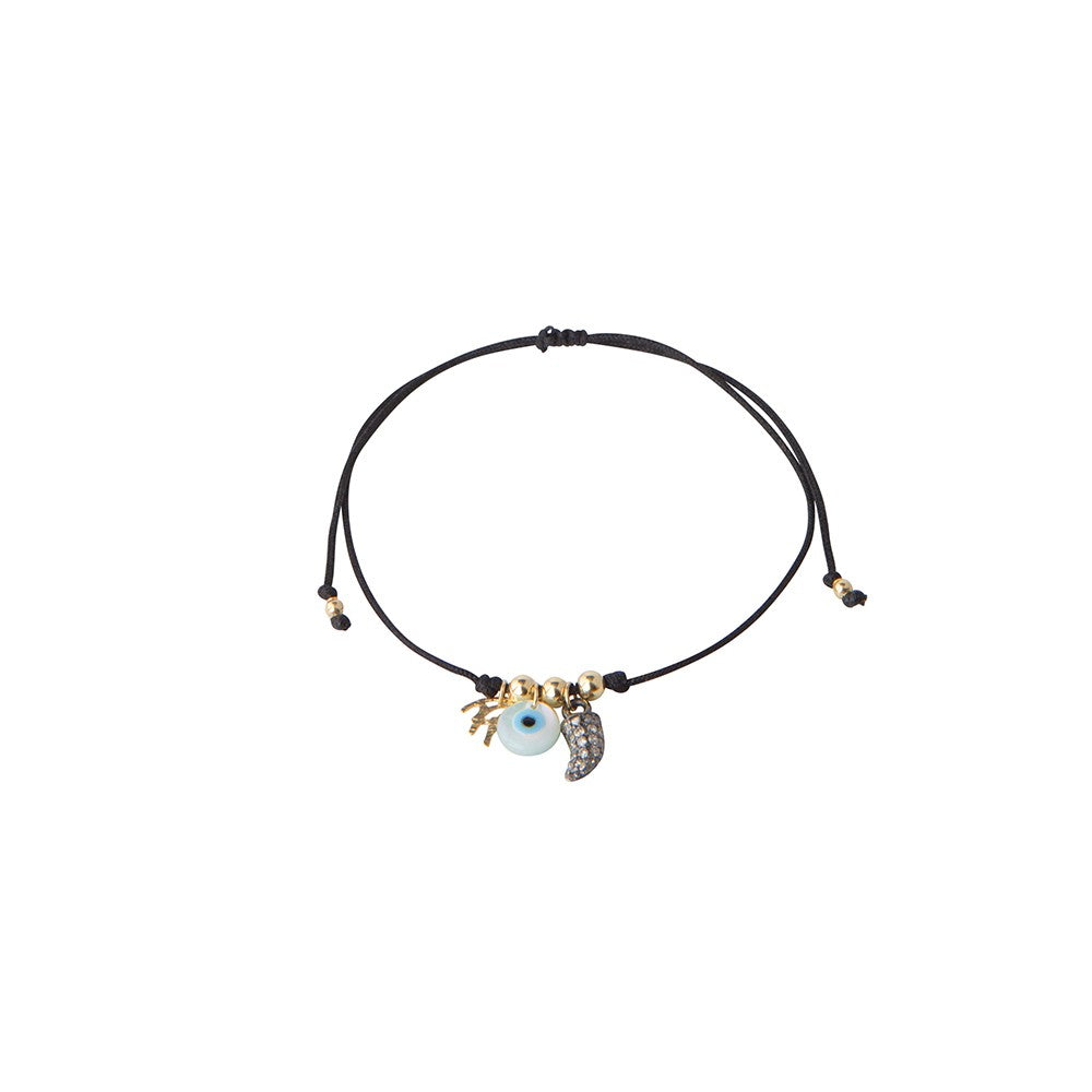 Black string bracelet with God eye and diamond horn