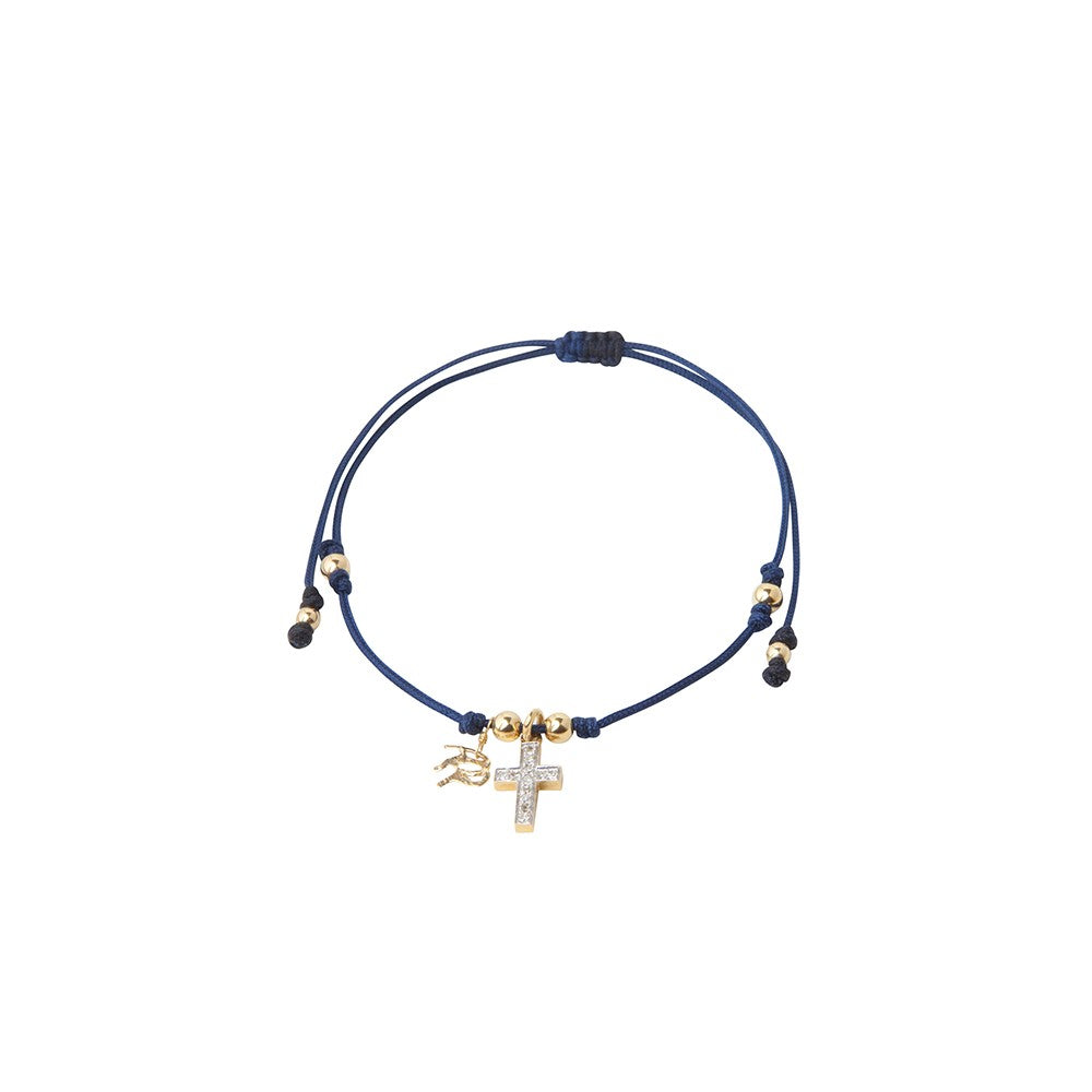 Blue String Bracelet with Diamond Encrusted Cross Charm