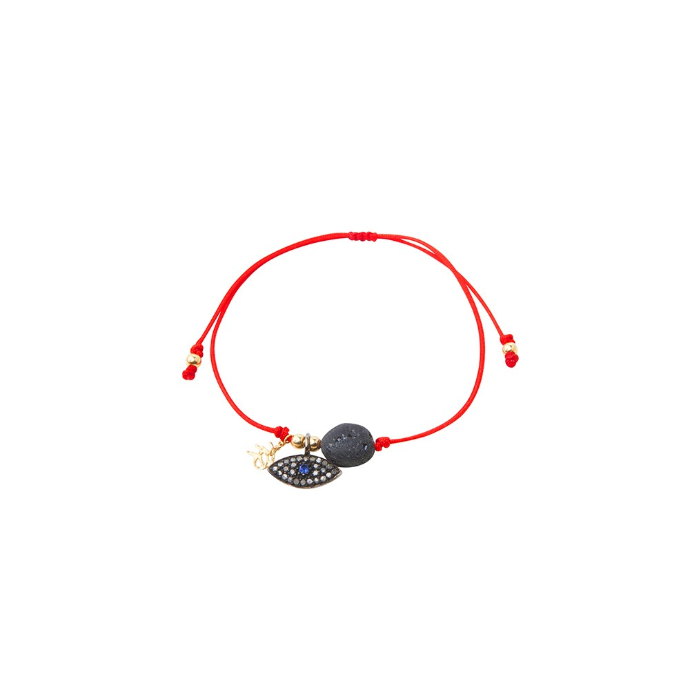Red string bracelet with silver God eye and black tourmaline