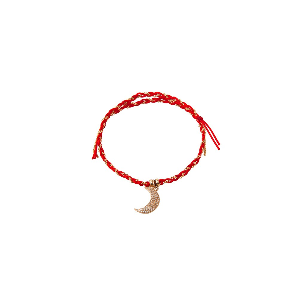 Red String and Gold Chain Woven Bracelet with Crescent Moon Charm