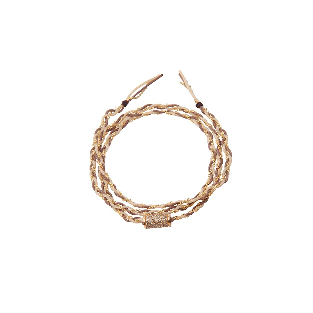 Beige, brown, woven and gold bracelet with barrel