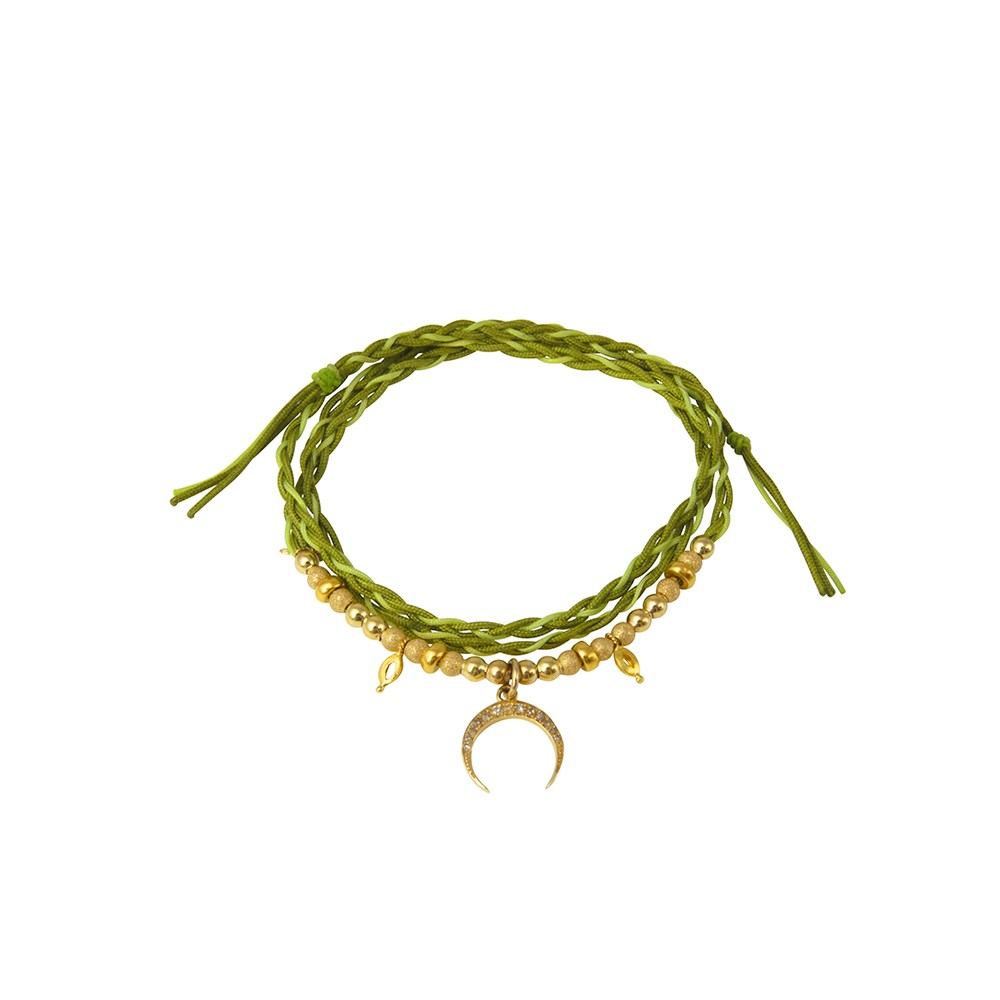 Green String Bracelet with Gold Half Moon Charm and Beads