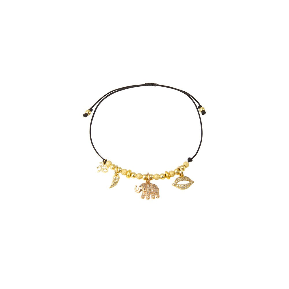 Black string bracelet with elephant charm