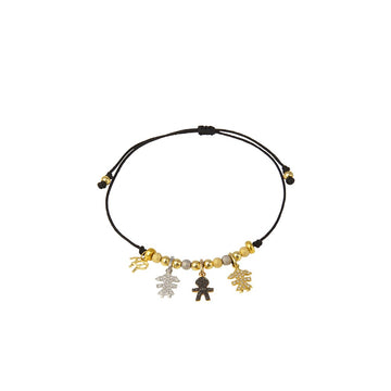 Black String Bracelet with Girl and Boy Diamond-Encrusted Charms