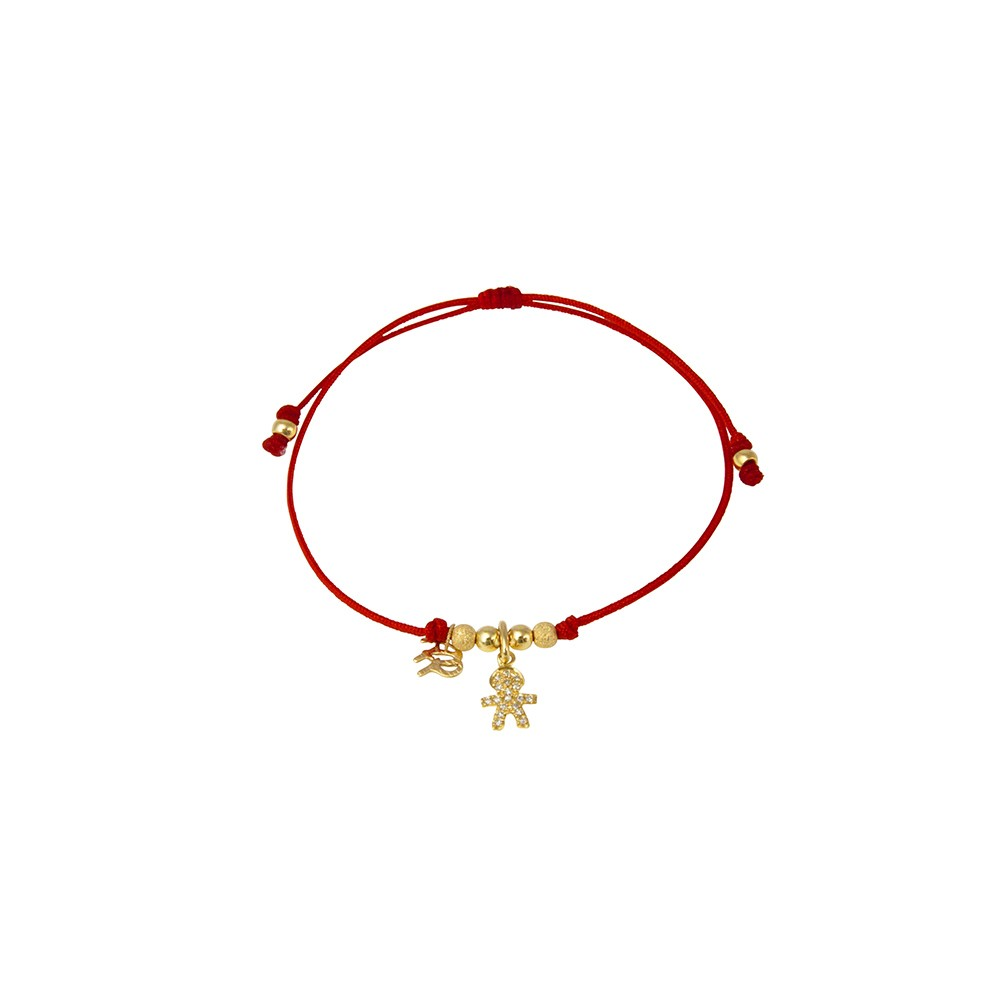 Red string bracelet with solitary boy charm