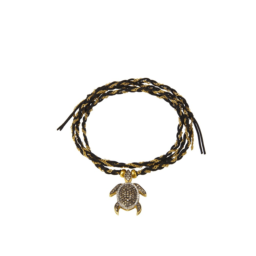 Woven Gold Chain and Black String Bracelet with Diamond Turtle Charm