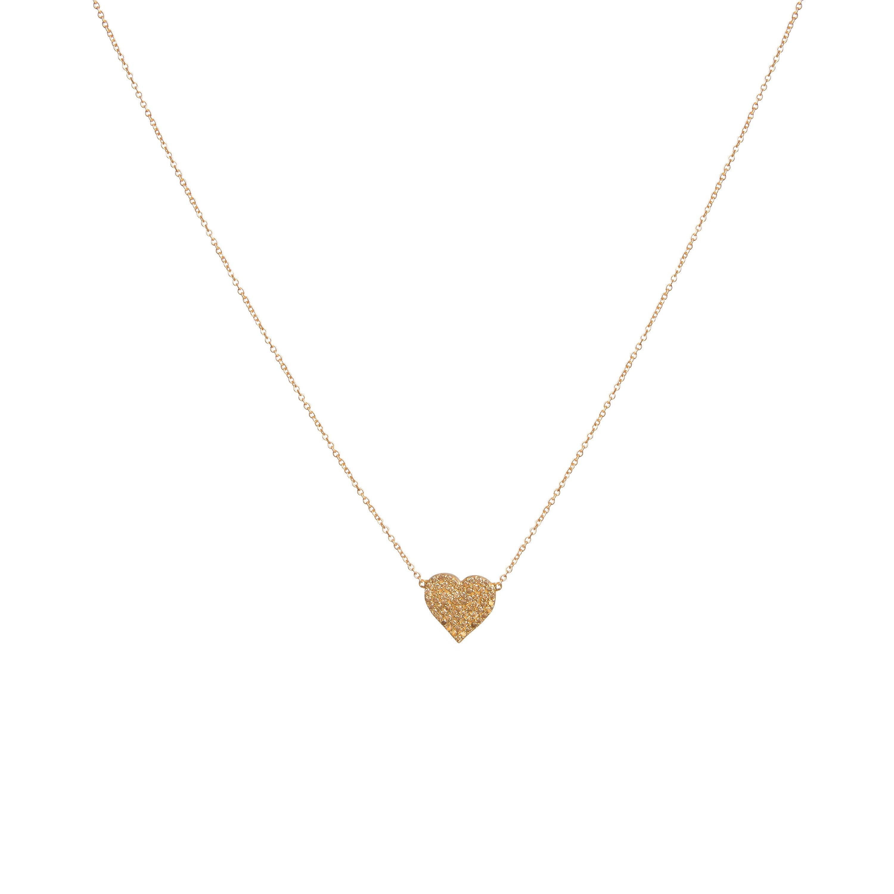 Gold Diamond Encrusted Heart Necklace