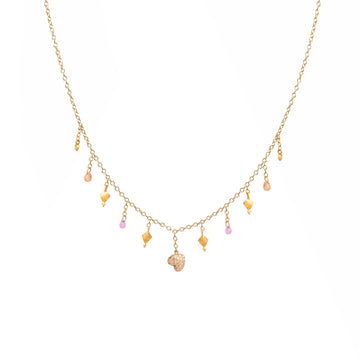 Multicolor Sapphires and Heart Pendant Necklace