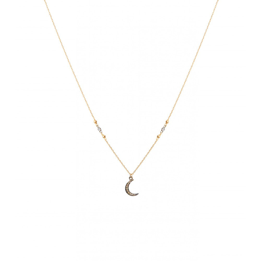Silver and Topaz Crescent Moon Necklace