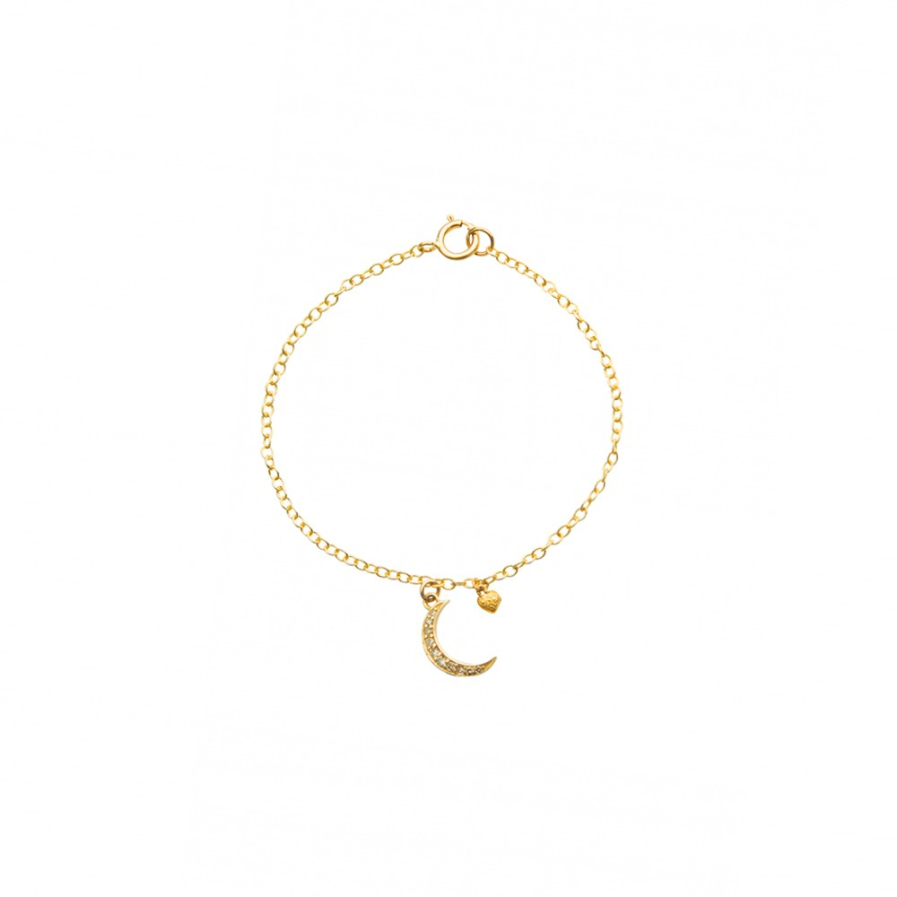 Diamond Encrusted Half Moon Charm Gold Bracelet