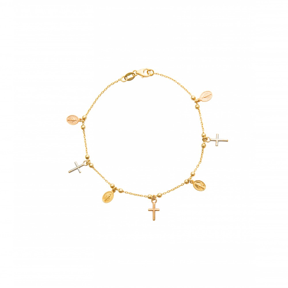 Gold bracelet with religious charms