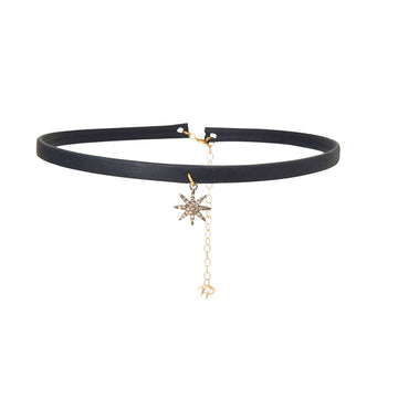 Black Leather Choker with Diamond-Encrusted Star Charm