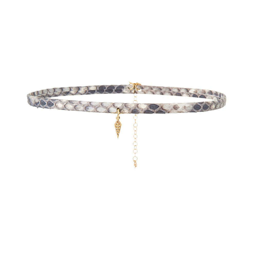 Python leather choker with diamond accents