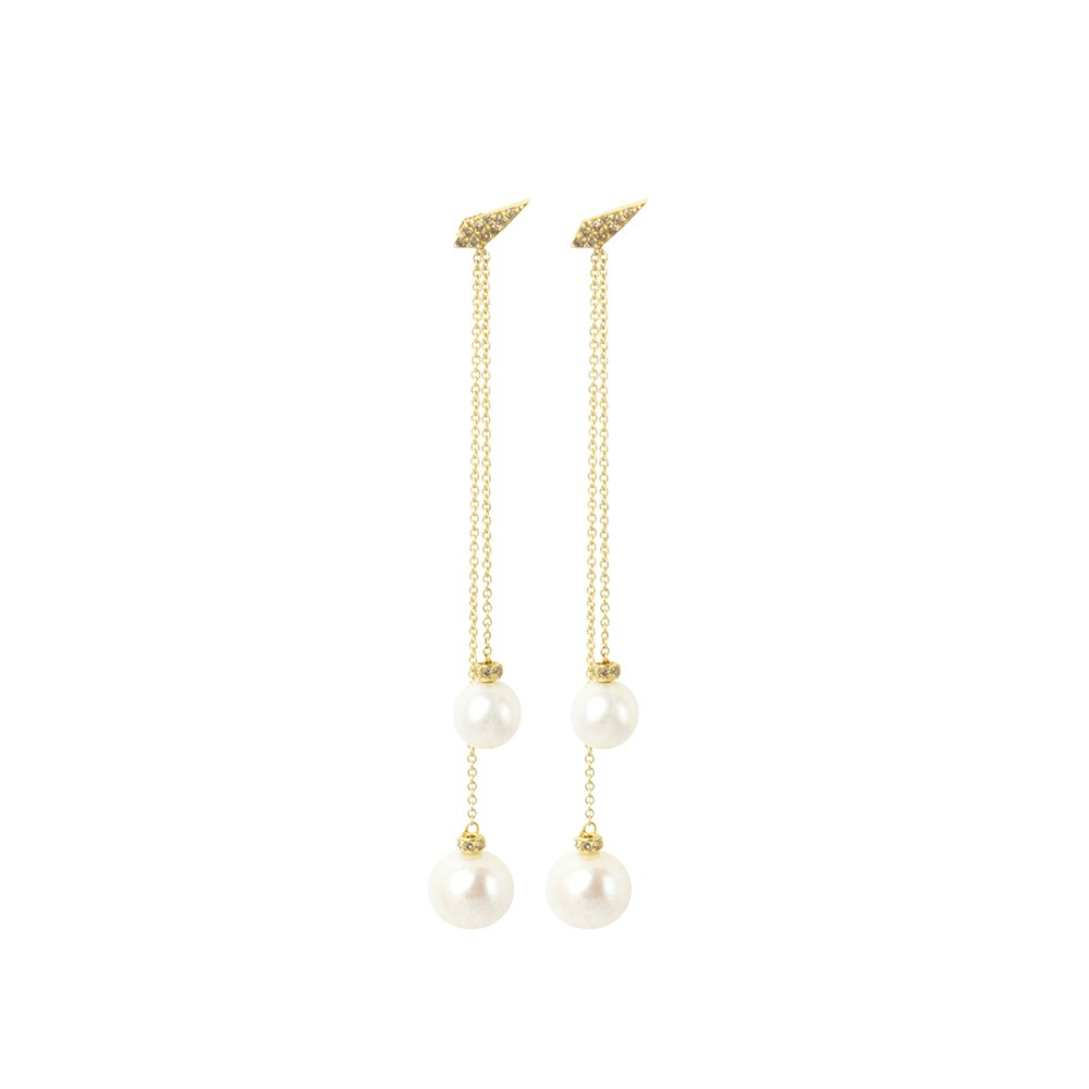 Long drop double pearl earrings