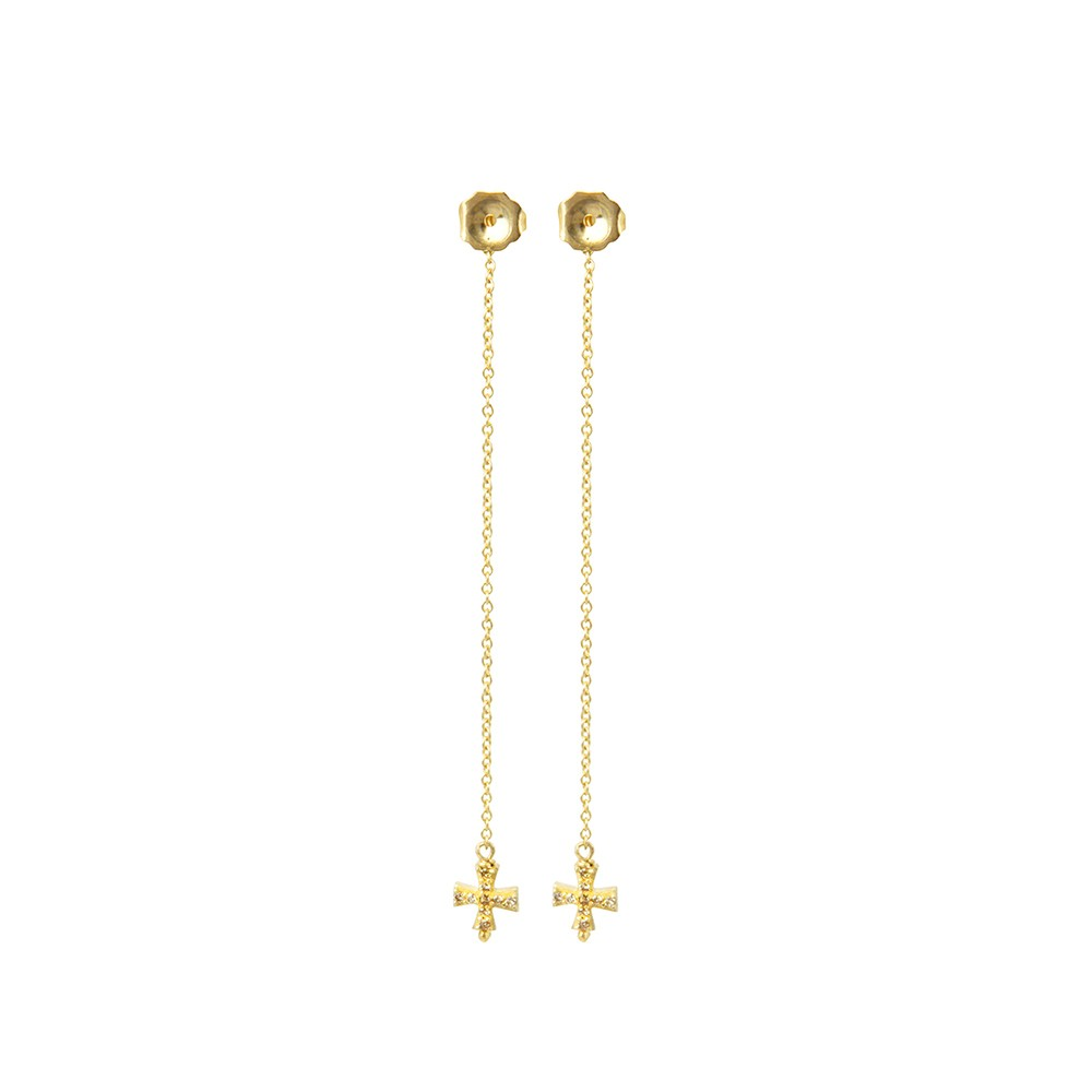 Crisscross long drop stud earrings