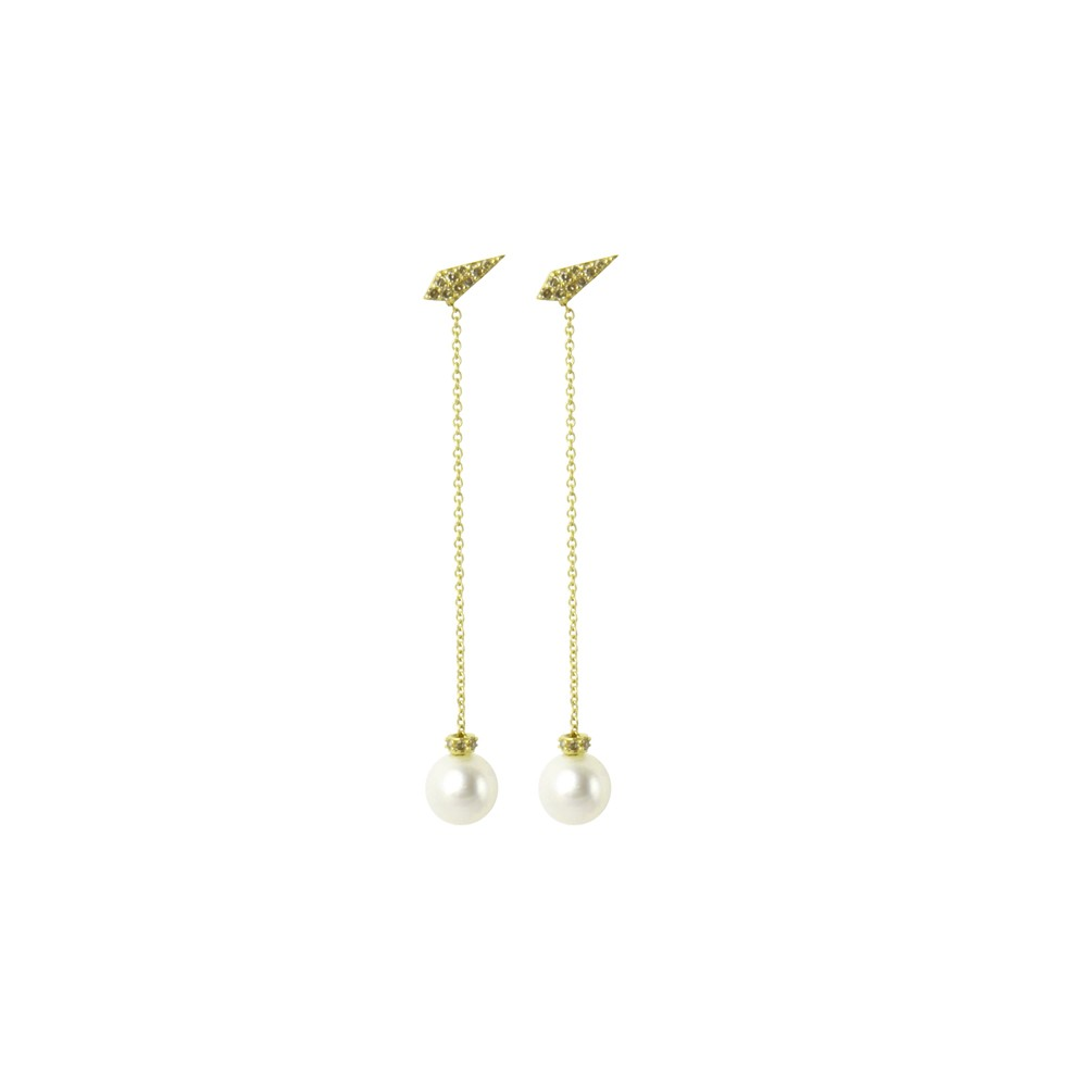 Long Drop Pearl Earrings with Leaf Stud Details