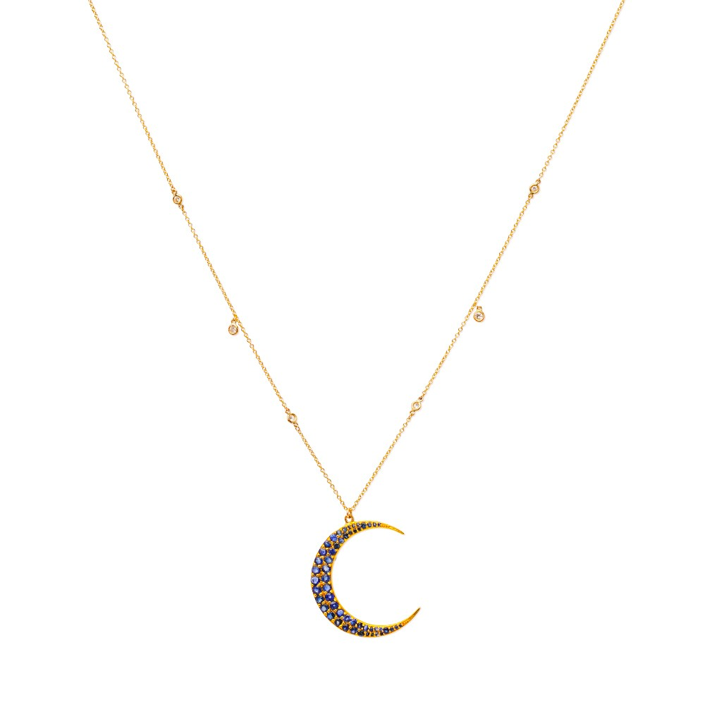 Blue Sapphire Crescent & Diamonds Necklace