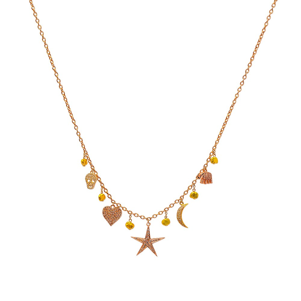 Yellow and Rose Gold Diamond Encrusted Charm Necklace